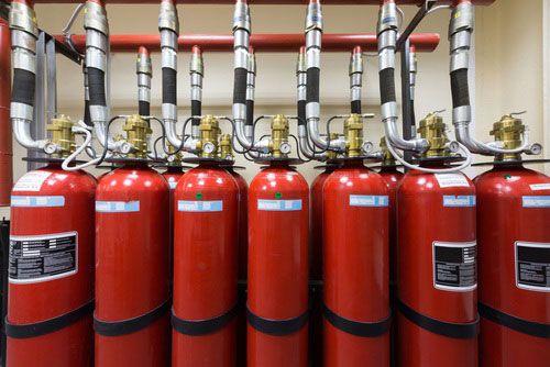Установка системы пожаротушения газом